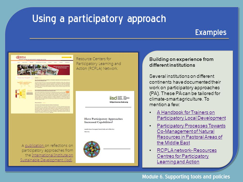 Using a participatory approach