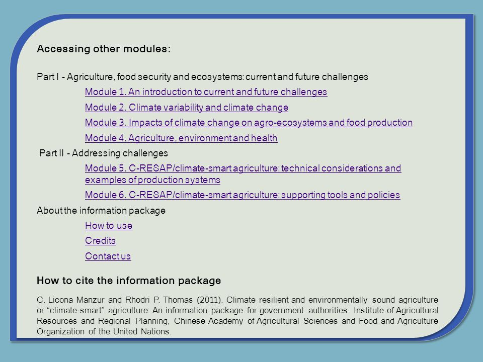 Accessing other modules: