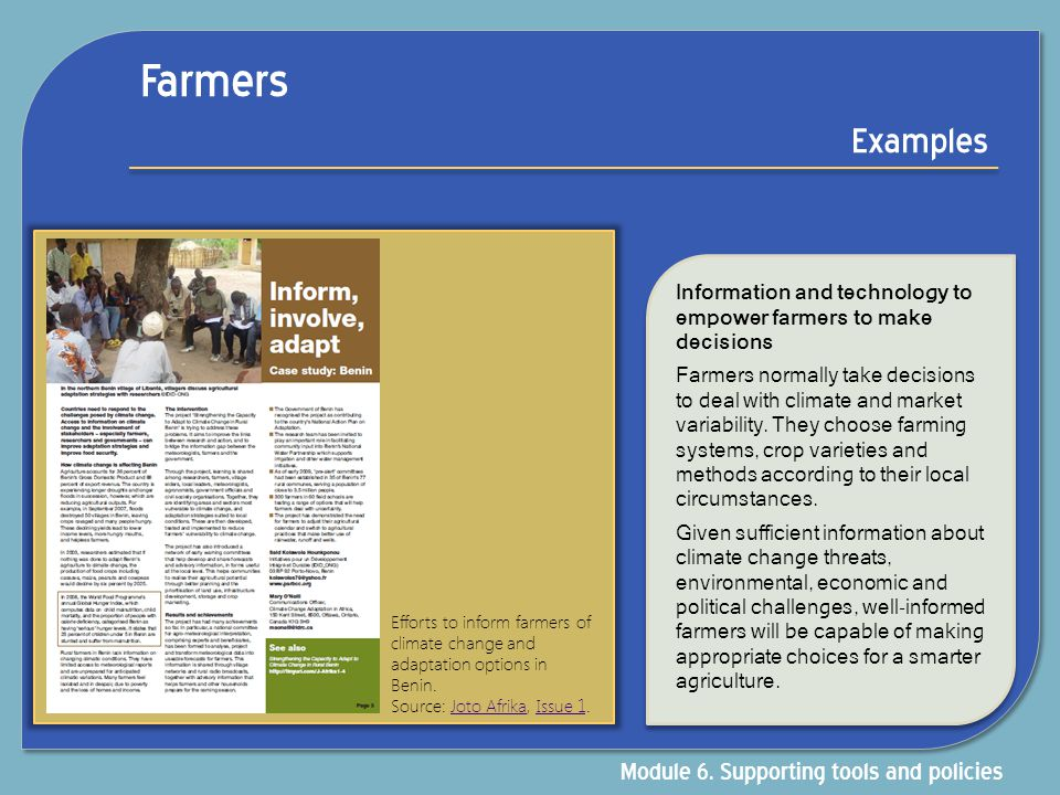Farmers Examples Module 6. Supporting tools and policies