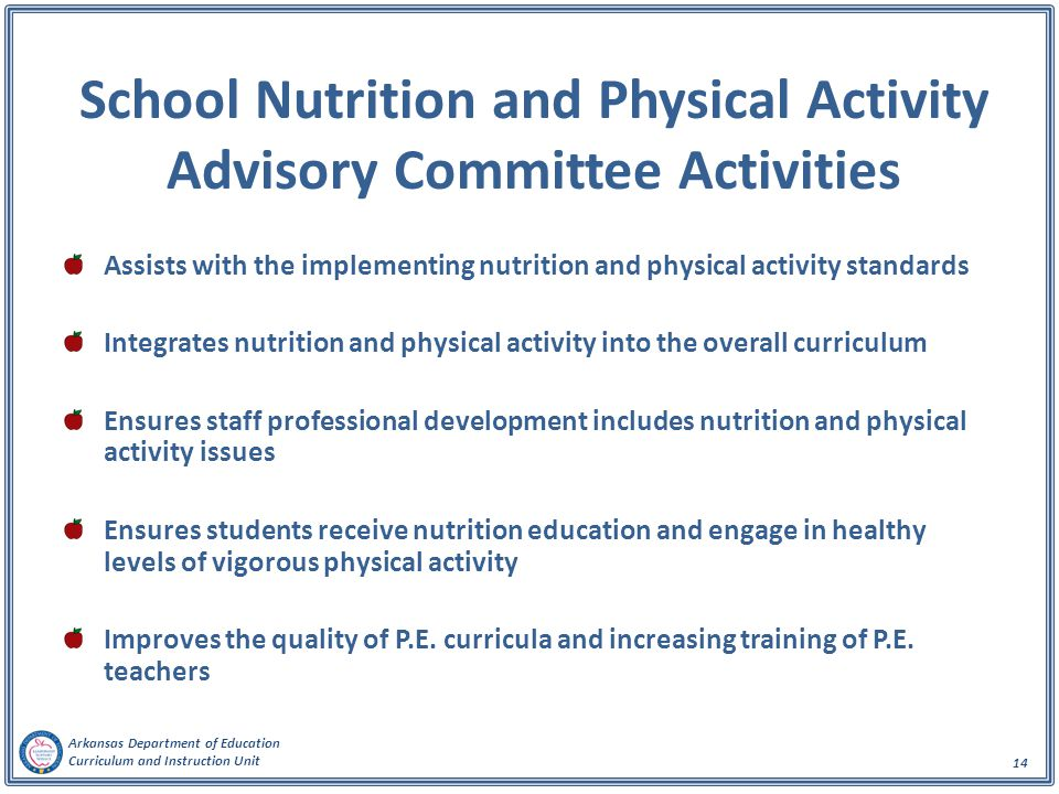 School Nutrition and Physical Activity Advisory Committee Activities