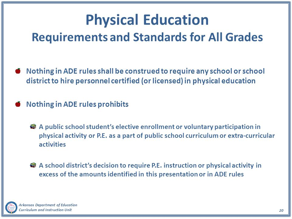 Physical Education Requirements and Standards for All Grades