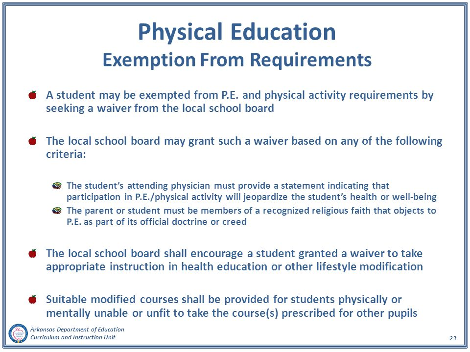 Physical Education Exemption From Requirements