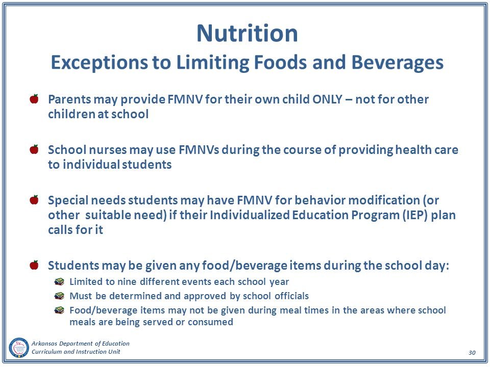 Nutrition Exceptions to Limiting Foods and Beverages