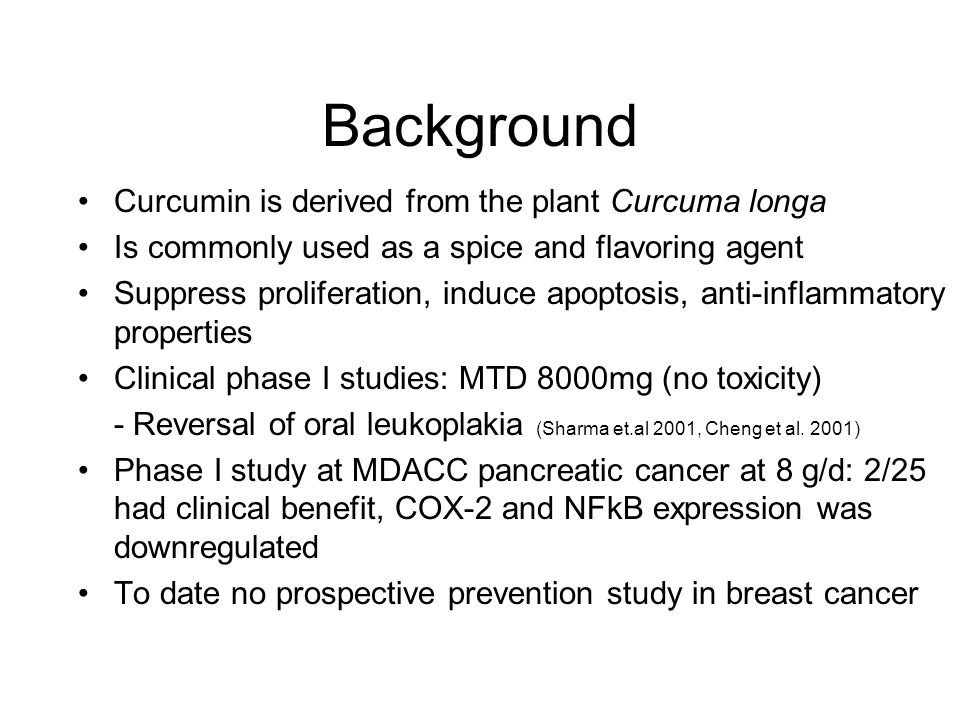Background Curcumin is derived from the plant Curcuma longa
