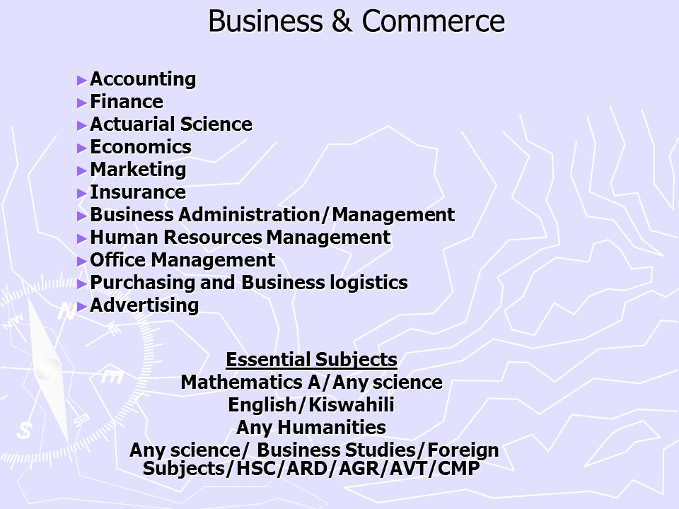 Business & Commerce Accounting Finance Actuarial Science Economics