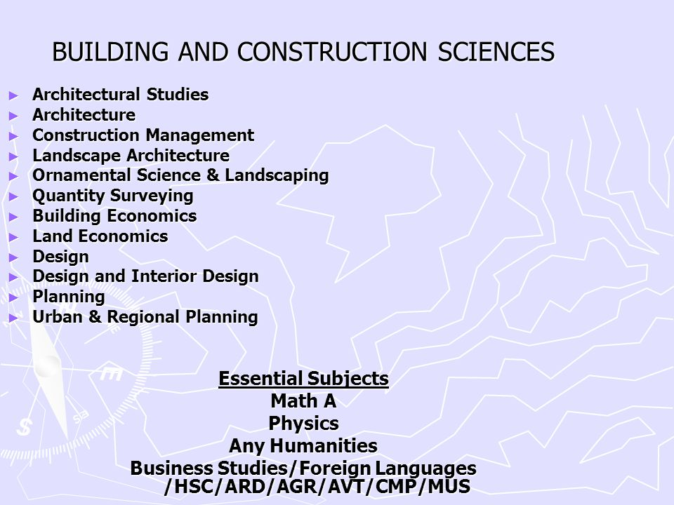 BUILDING AND CONSTRUCTION SCIENCES