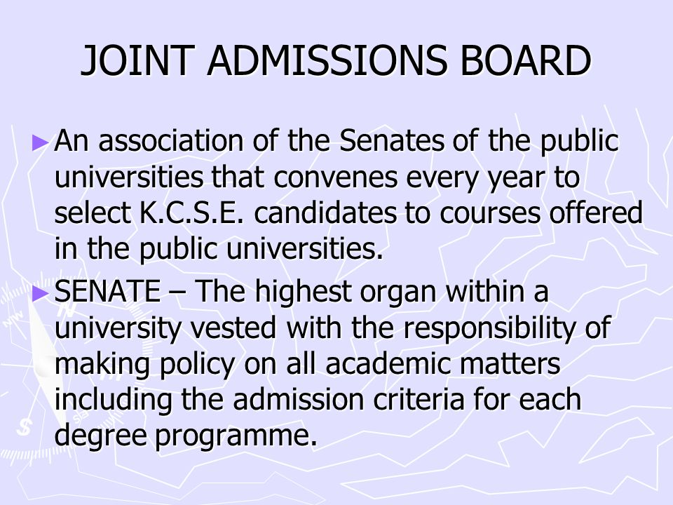 JOINT ADMISSIONS BOARD