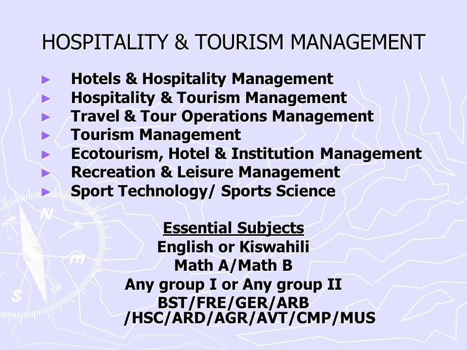 HOSPITALITY & TOURISM MANAGEMENT