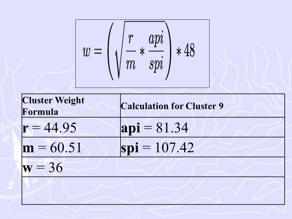 Cluster Weight Formula