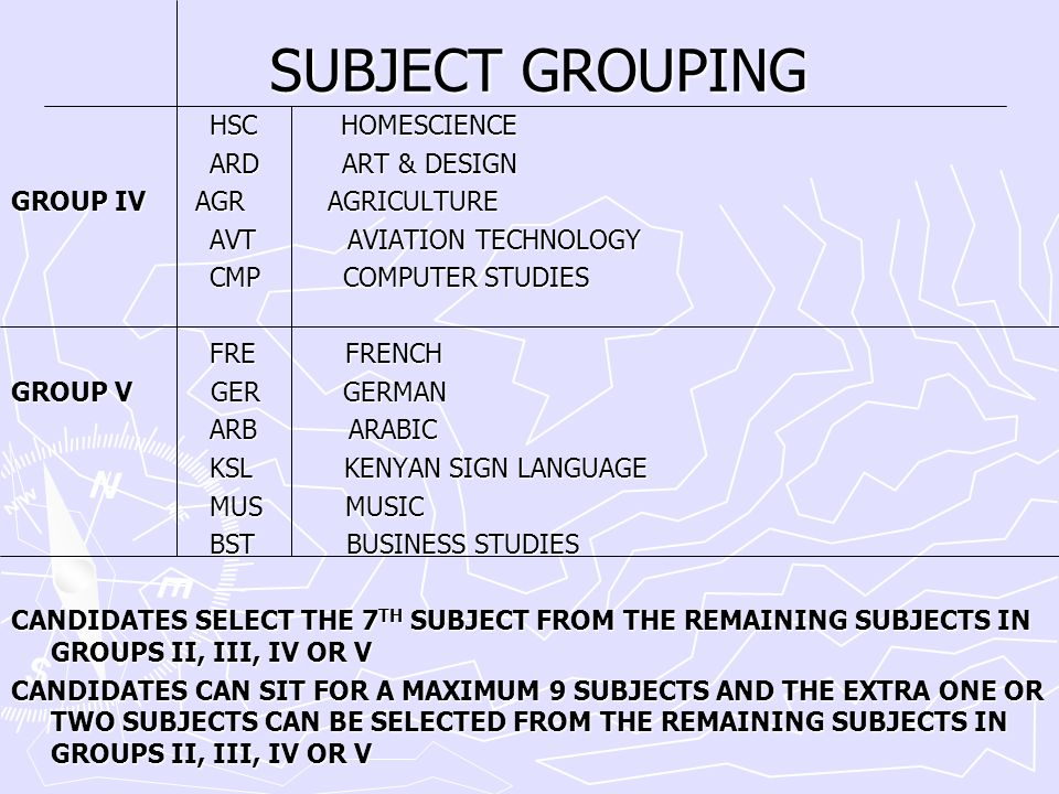 SUBJECT GROUPING HSC HOMESCIENCE ARD ART & DESIGN
