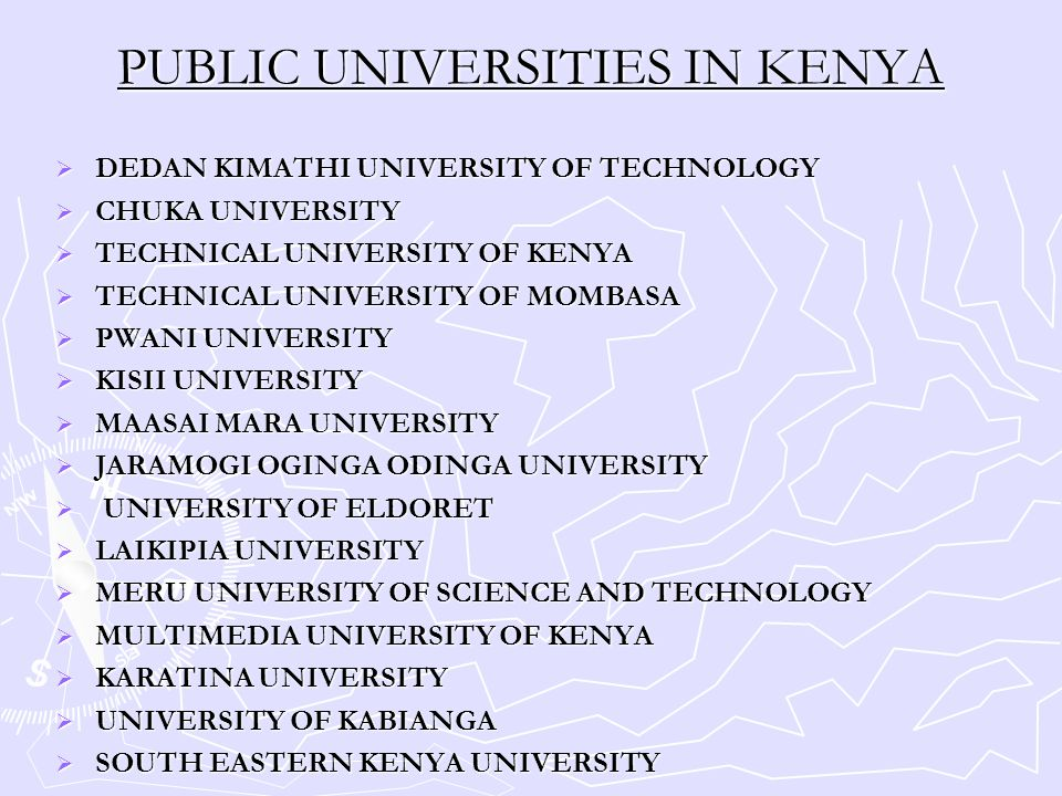 PUBLIC UNIVERSITIES IN KENYA