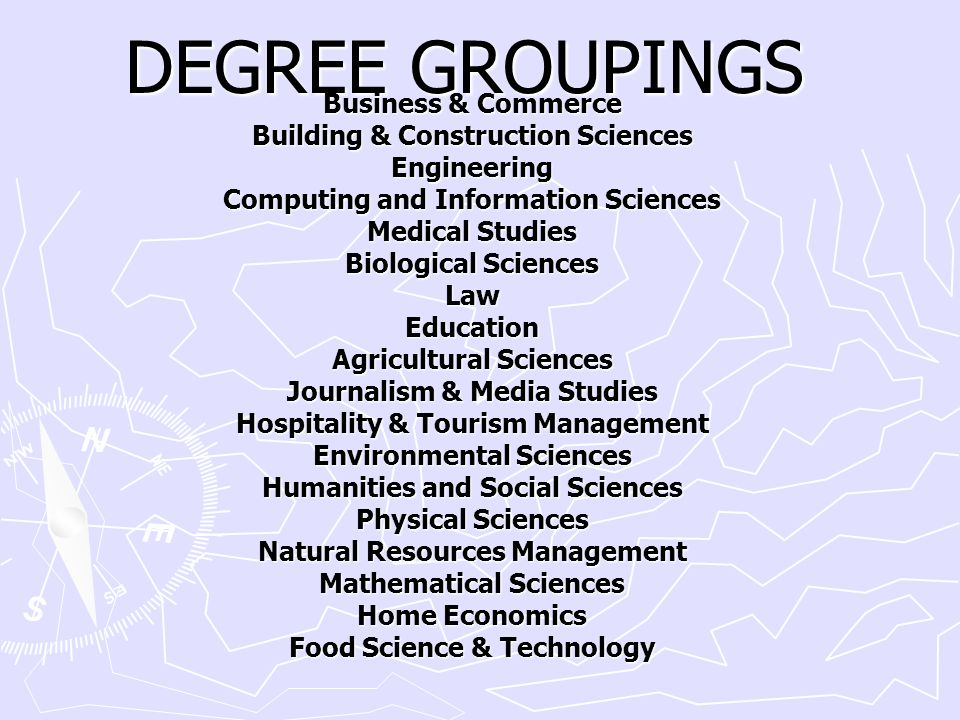 DEGREE GROUPINGS Business & Commerce Building & Construction Sciences