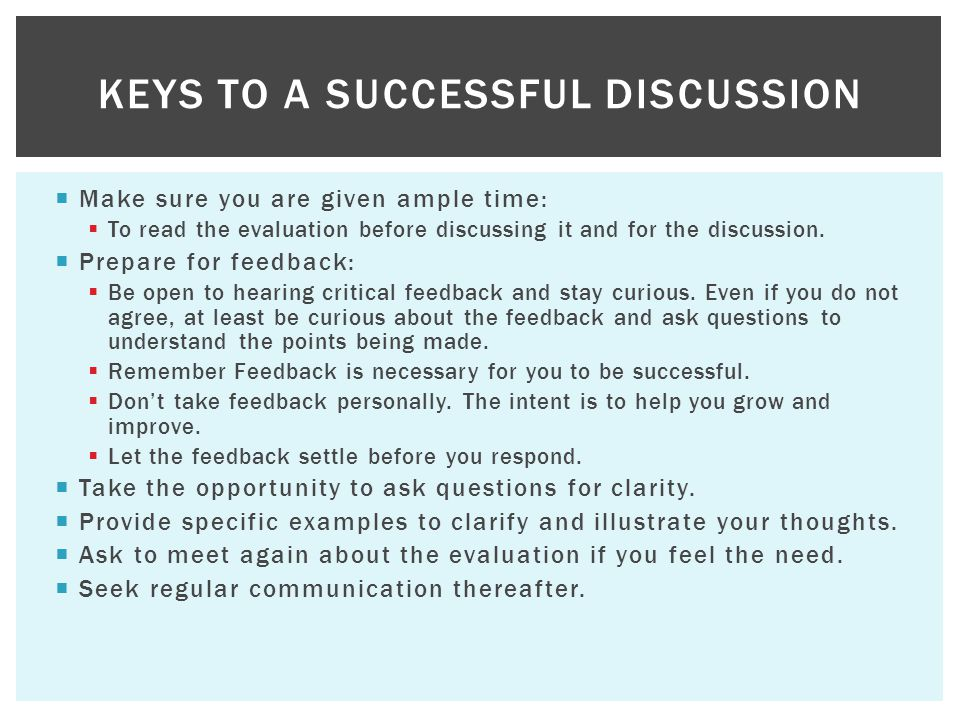 Keys to a Successful Discussion