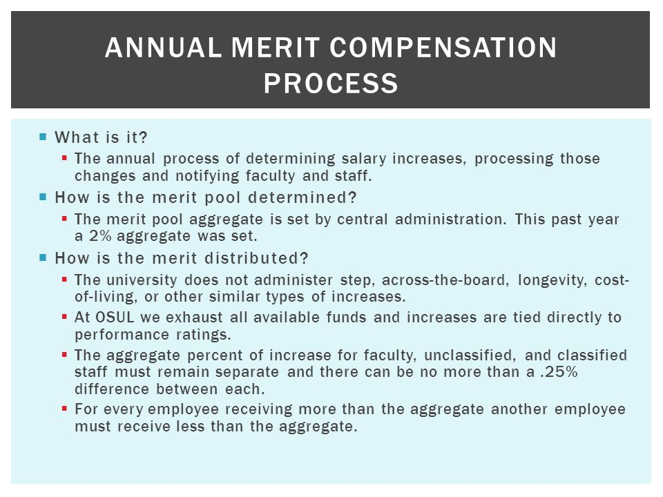 Annual Merit Compensation Process