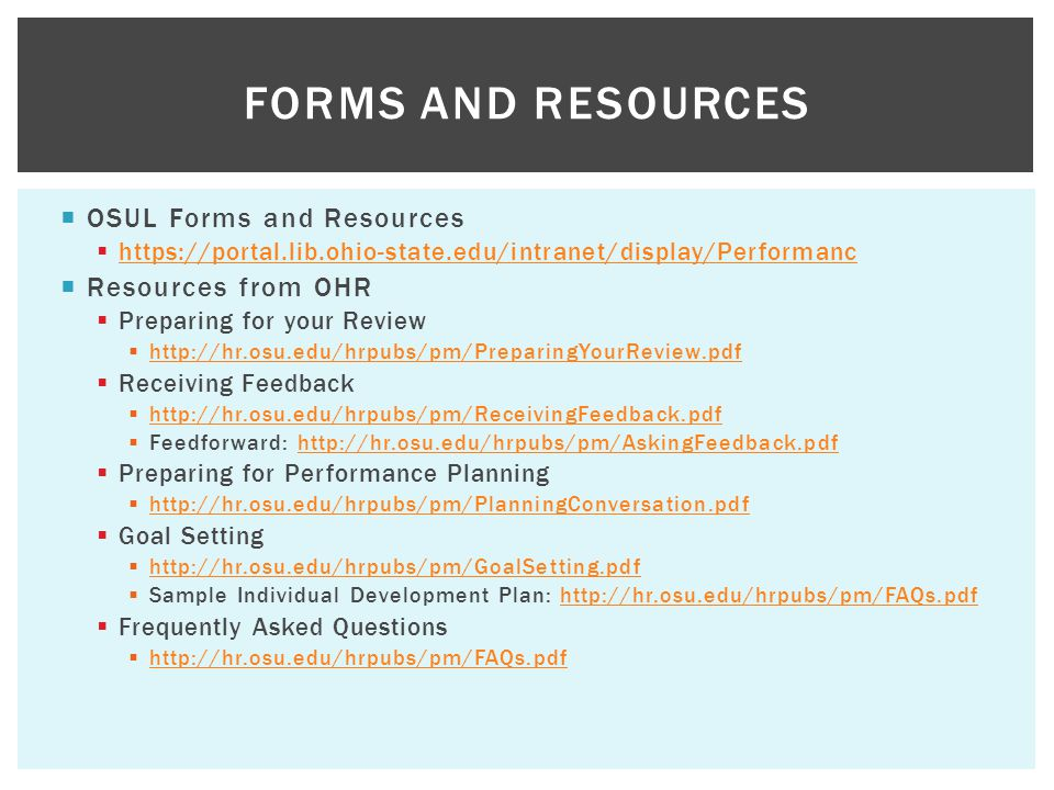 Forms and Resources OSUL Forms and Resources Resources from OHR