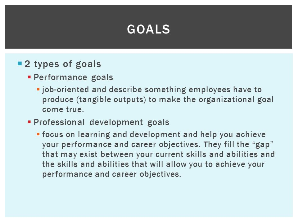 Goals 2 types of goals Performance goals