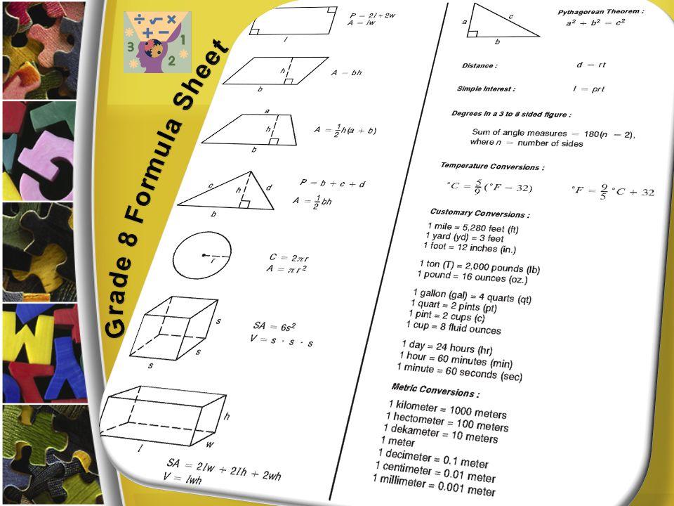 Grade 8 Formula Sheet