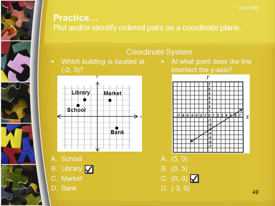 Practice… Plot and/or identify ordered pairs on a coordinate plane.