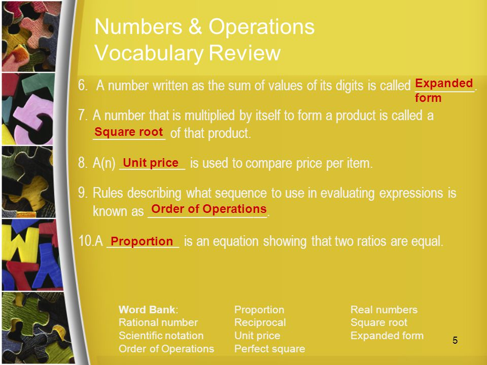 Numbers & Operations Vocabulary Review
