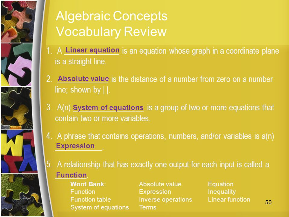 Algebraic Concepts Vocabulary Review