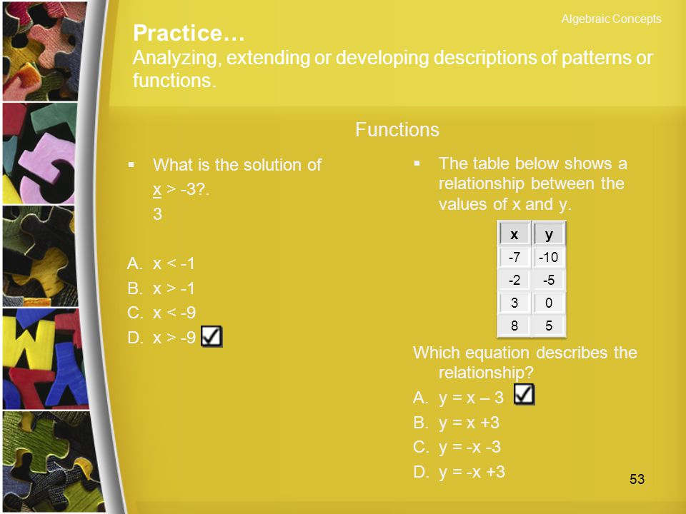 Algebraic Concepts Practice… Analyzing, extending or developing descriptions of patterns or functions.