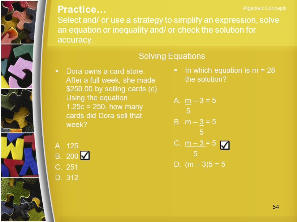 Algebraic Concepts