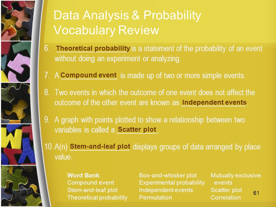 Data Analysis & Probability Vocabulary Review