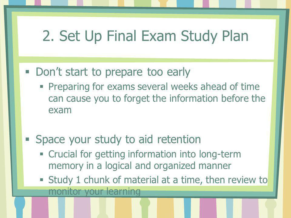 2. Set Up Final Exam Study Plan