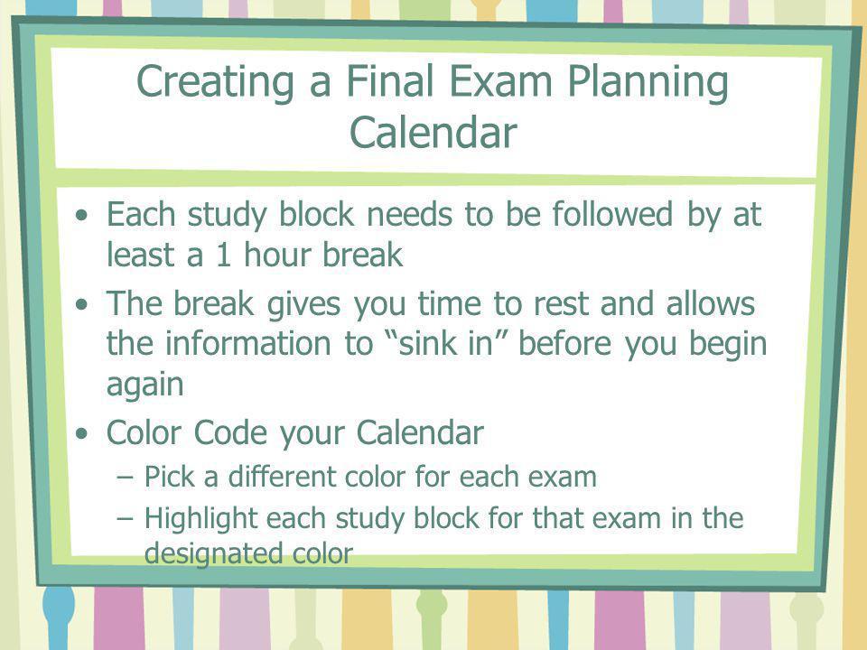 Creating a Final Exam Planning Calendar