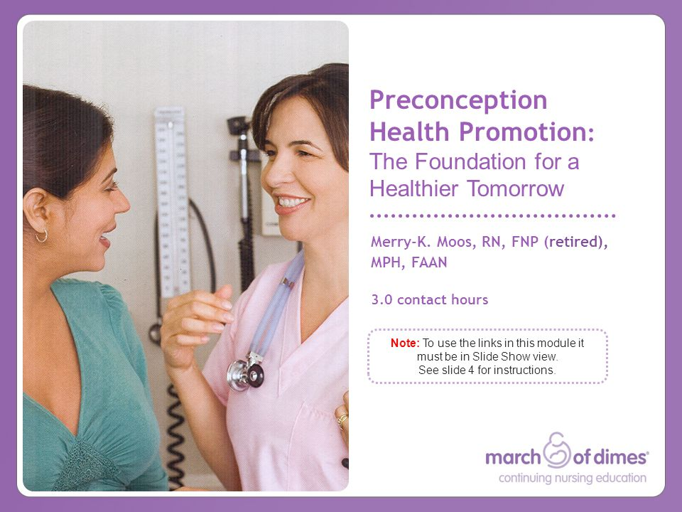 Preconception Health Promotion: The Foundation for a Healthier Tomorrow