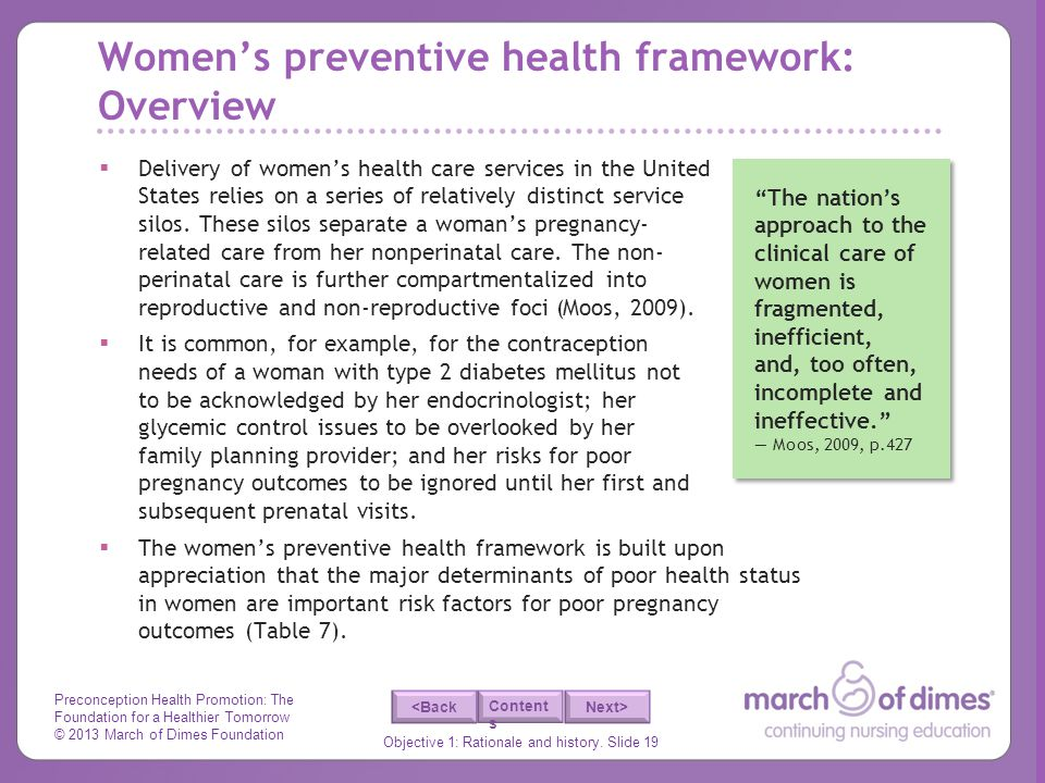 Women's preventive health framework: Overview