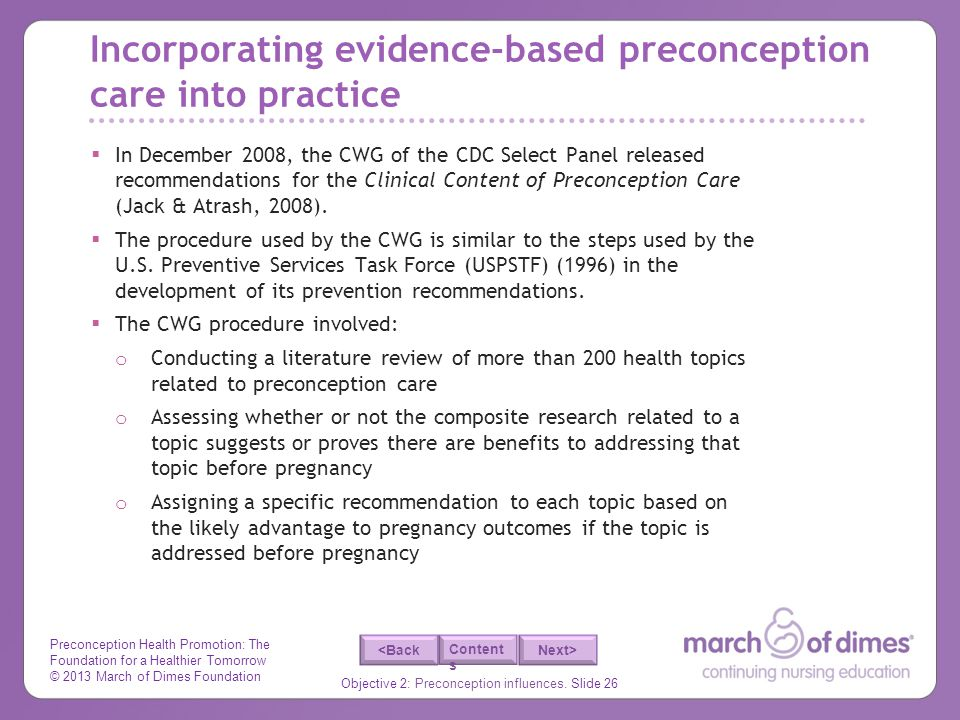 Incorporating evidence-based preconception care into practice
