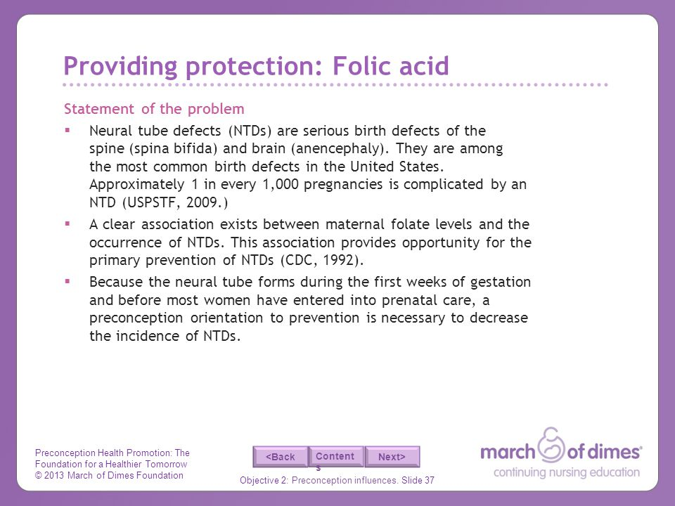 Providing protection: Folic acid