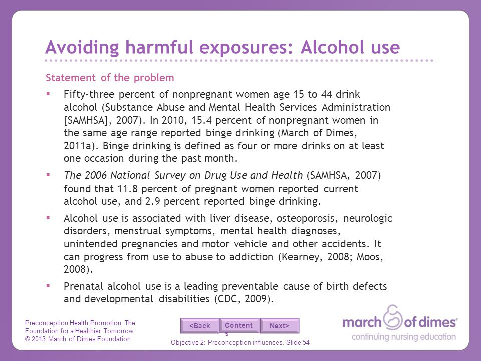 Avoiding harmful exposures: Alcohol use
