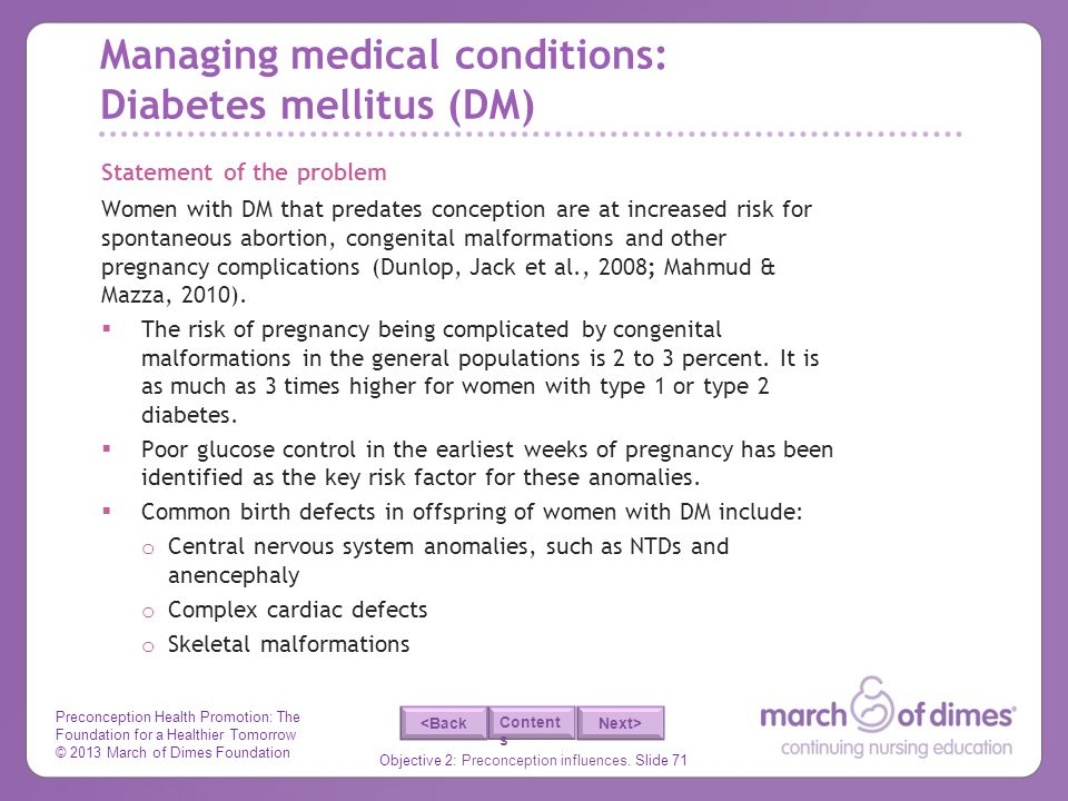 Managing medical conditions: Diabetes mellitus (DM)