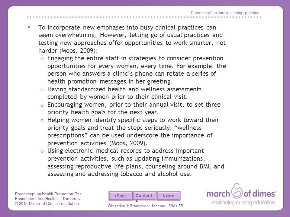 Preconception care in nursing practice