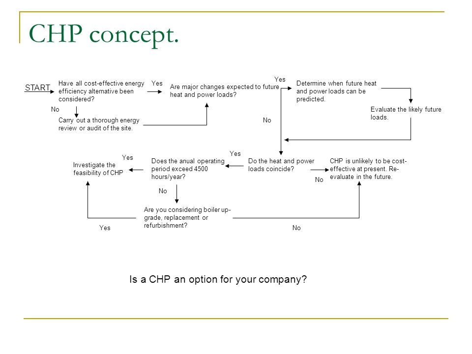 CHP concept. Is a CHP an option for your company START Yes