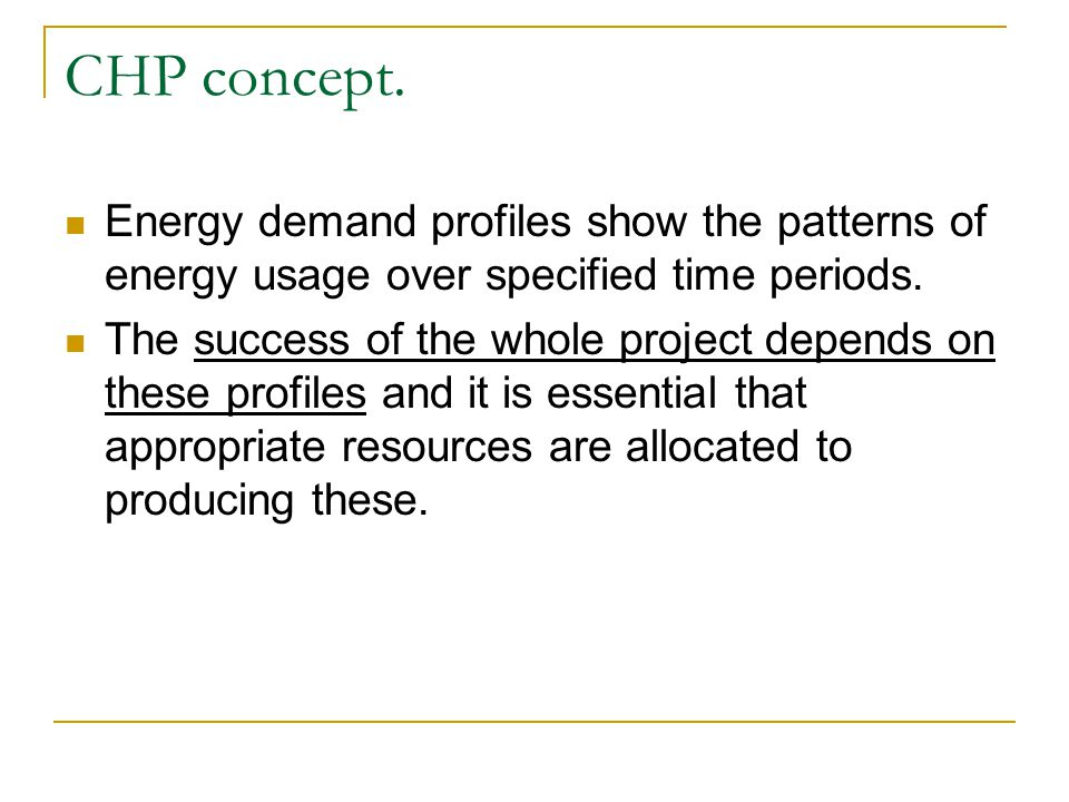 CHP concept. Energy demand profiles show the patterns of energy usage over specified time periods.