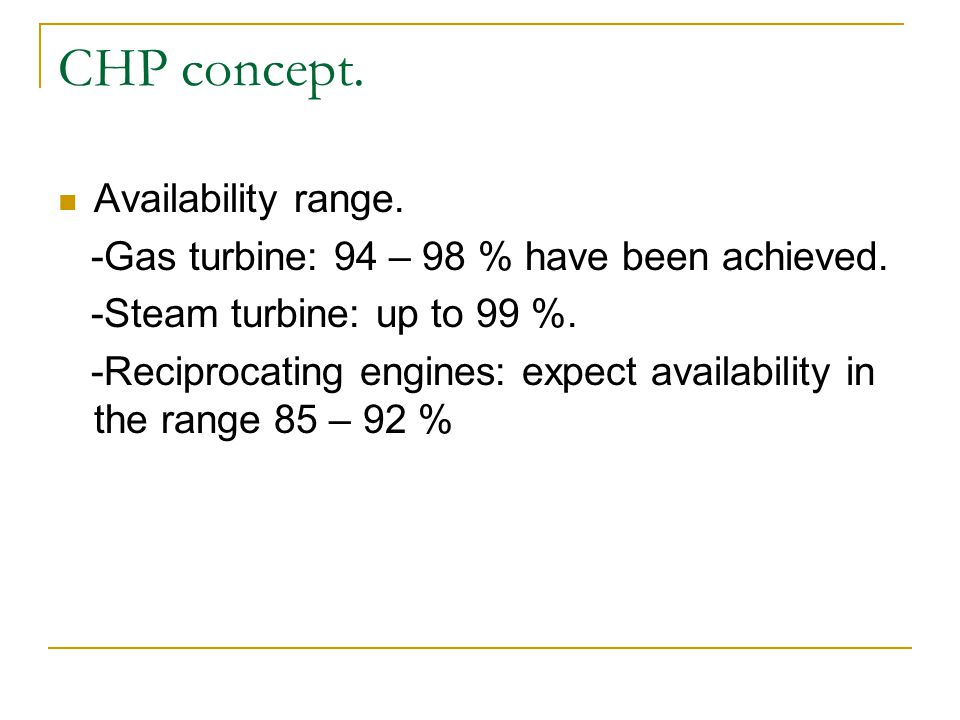 CHP concept. Availability range.