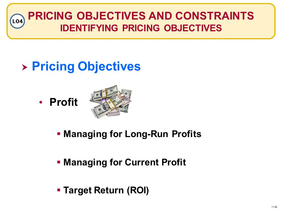 PRICING OBJECTIVES AND CONSTRAINTS IDENTIFYING PRICING OBJECTIVES