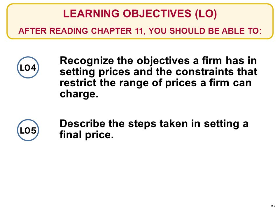Describe the steps taken in setting a final price.