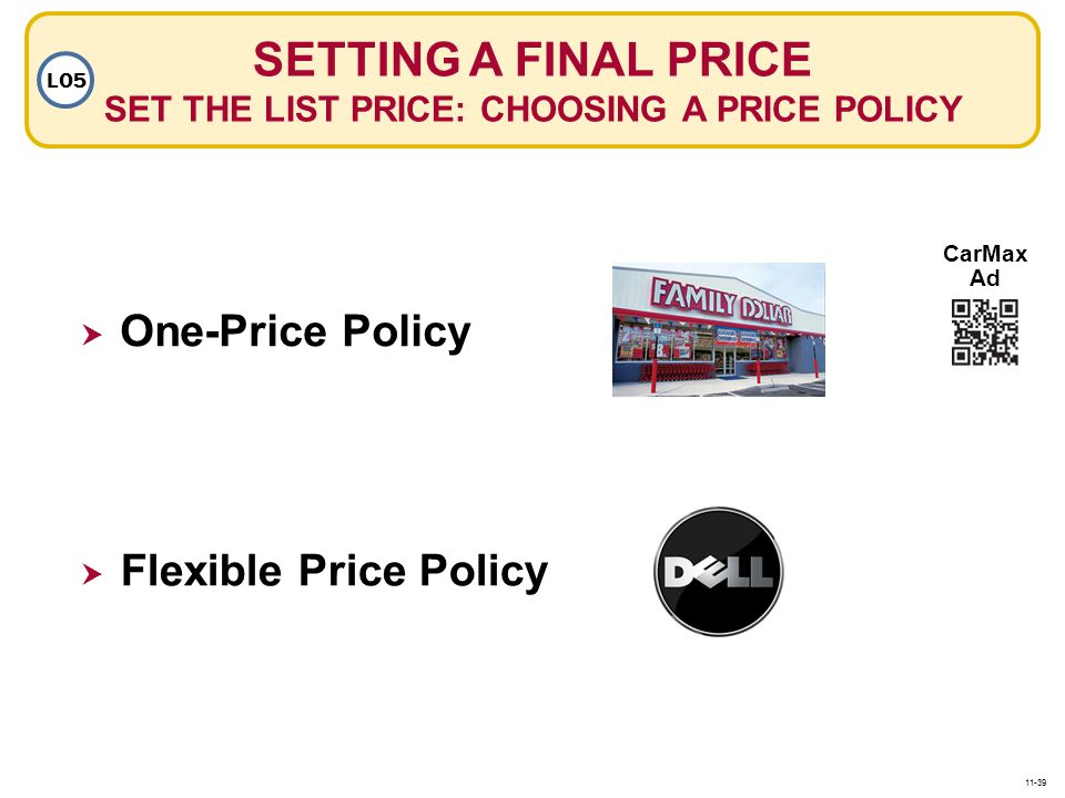 SETTING A FINAL PRICE SET THE LIST PRICE: CHOOSING A PRICE POLICY