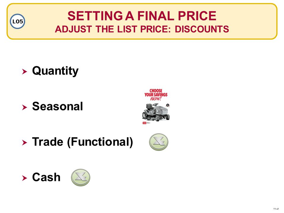 SETTING A FINAL PRICE ADJUST THE LIST PRICE: DISCOUNTS