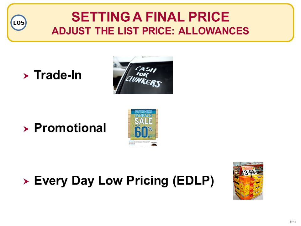 SETTING A FINAL PRICE ADJUST THE LIST PRICE: ALLOWANCES