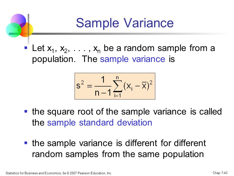 Sample Variance Let x1, x2, . . . , xn be a random sample from a population. The sample variance is.