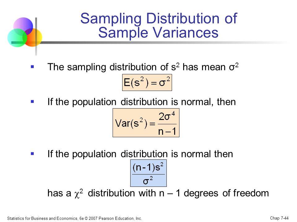 Sampling Distribution of Sample Variances