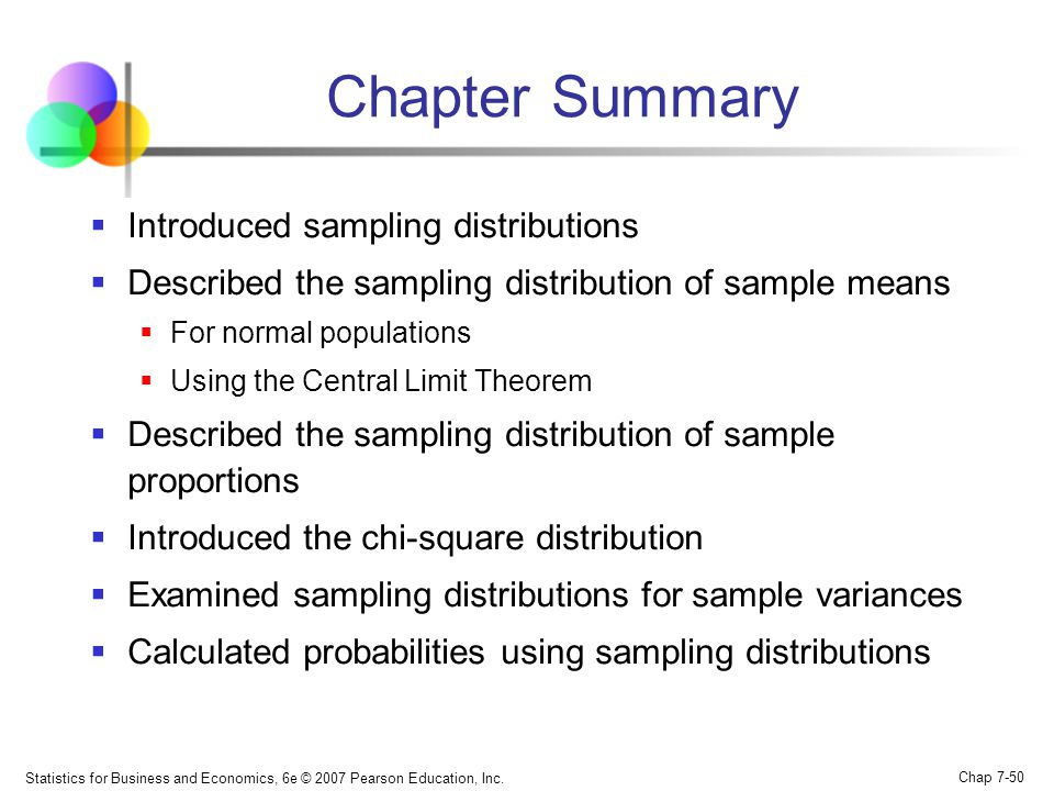 Chapter Summary Introduced sampling distributions