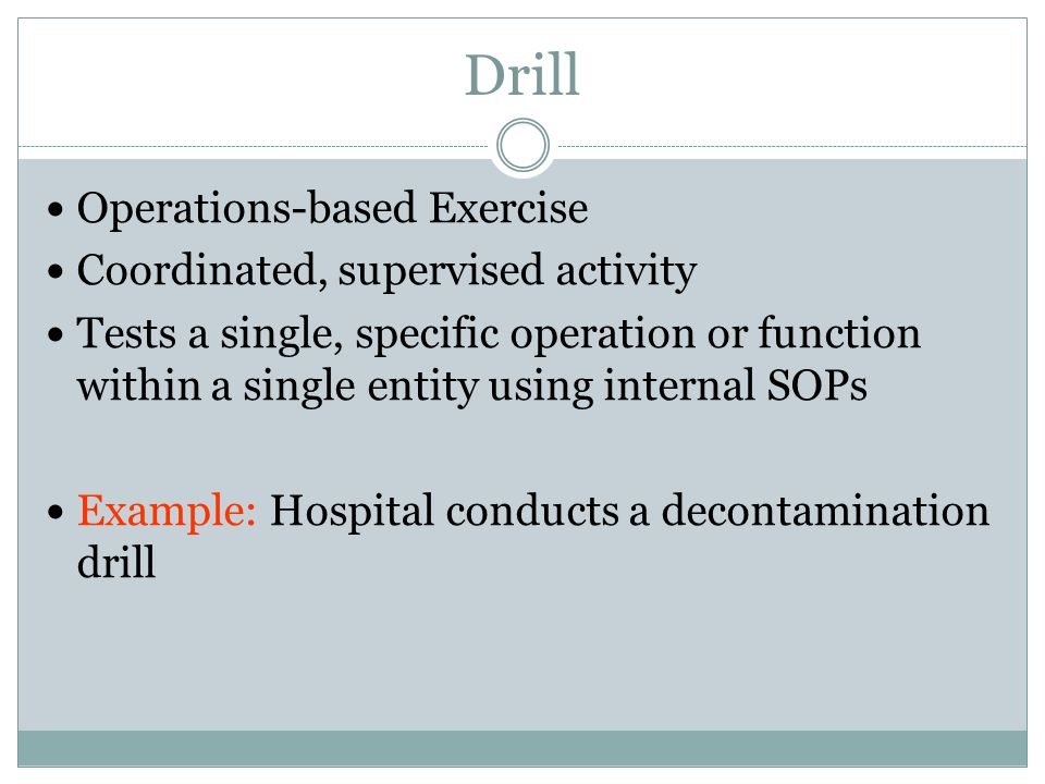 Drill Operations-based Exercise Coordinated, supervised activity