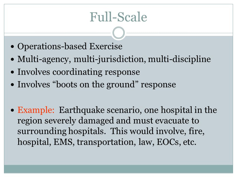 Full-Scale Operations-based Exercise