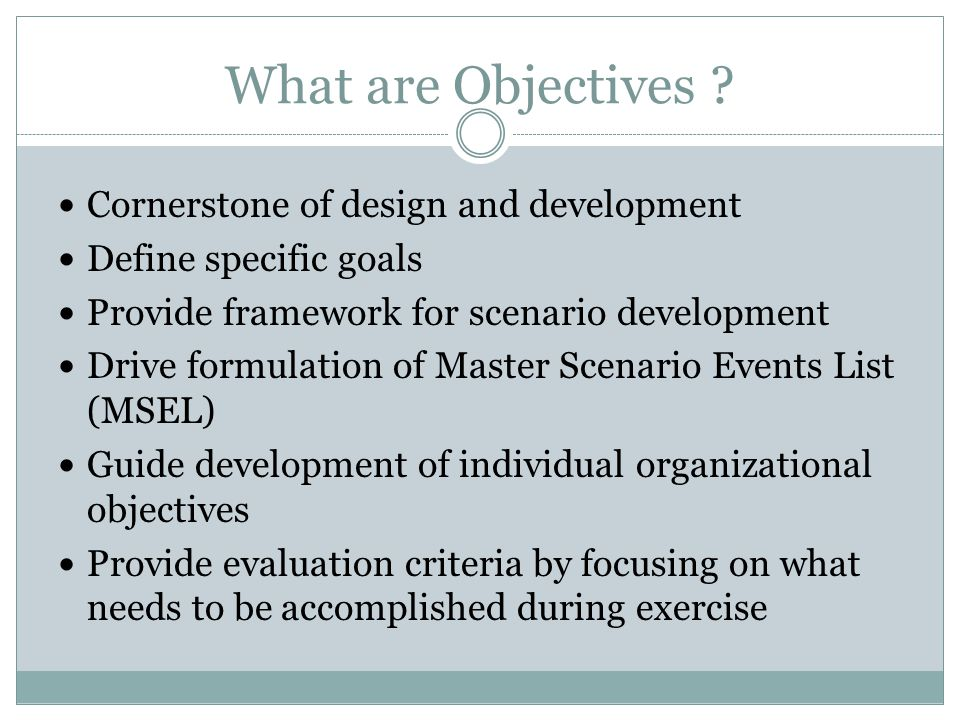 What are Objectives Cornerstone of design and development